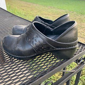 Vintage Y2K Chunky Heel Leather Clogs Shoes Size 7